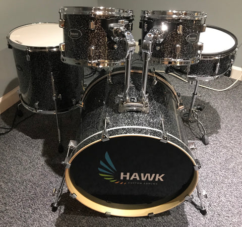 Hawk Custom Edrums Black Sparkle Shellpack - edrumcenter.com