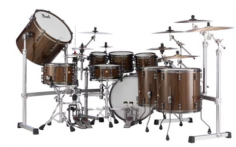 Pearl Masterworks Urban Exotic 9-piece Shell Pack - Brown Lacquer over Zebrawood - edrumcenter.com