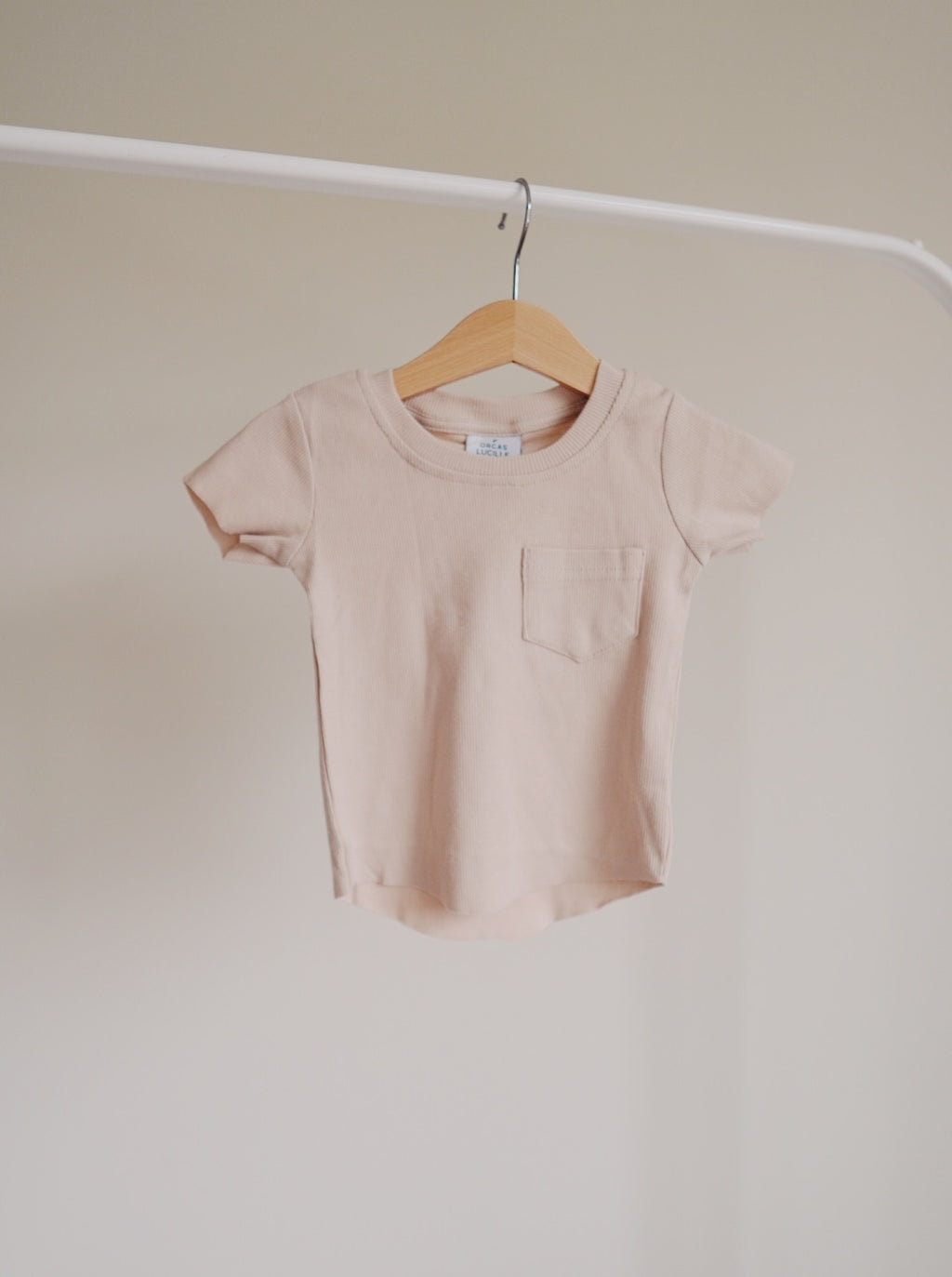 Ribbed Pocket Tee - Almond