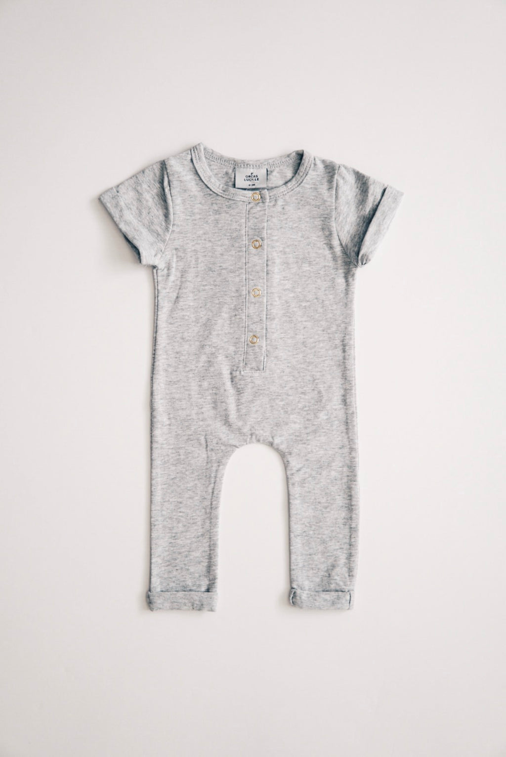 Short Sleeve Henley Romper - Heather Grey