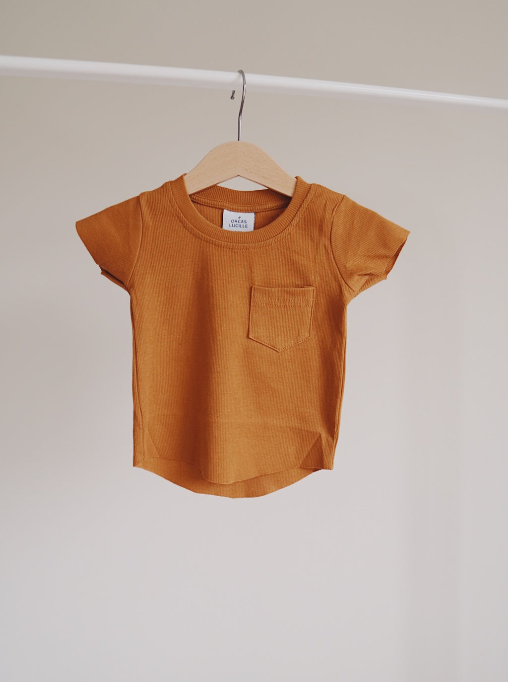 Ribbed Pocket Tee - Autumn Maple