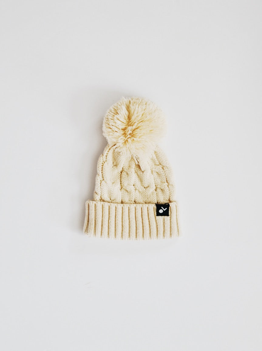Cable Knit Pom Beanie - Cream