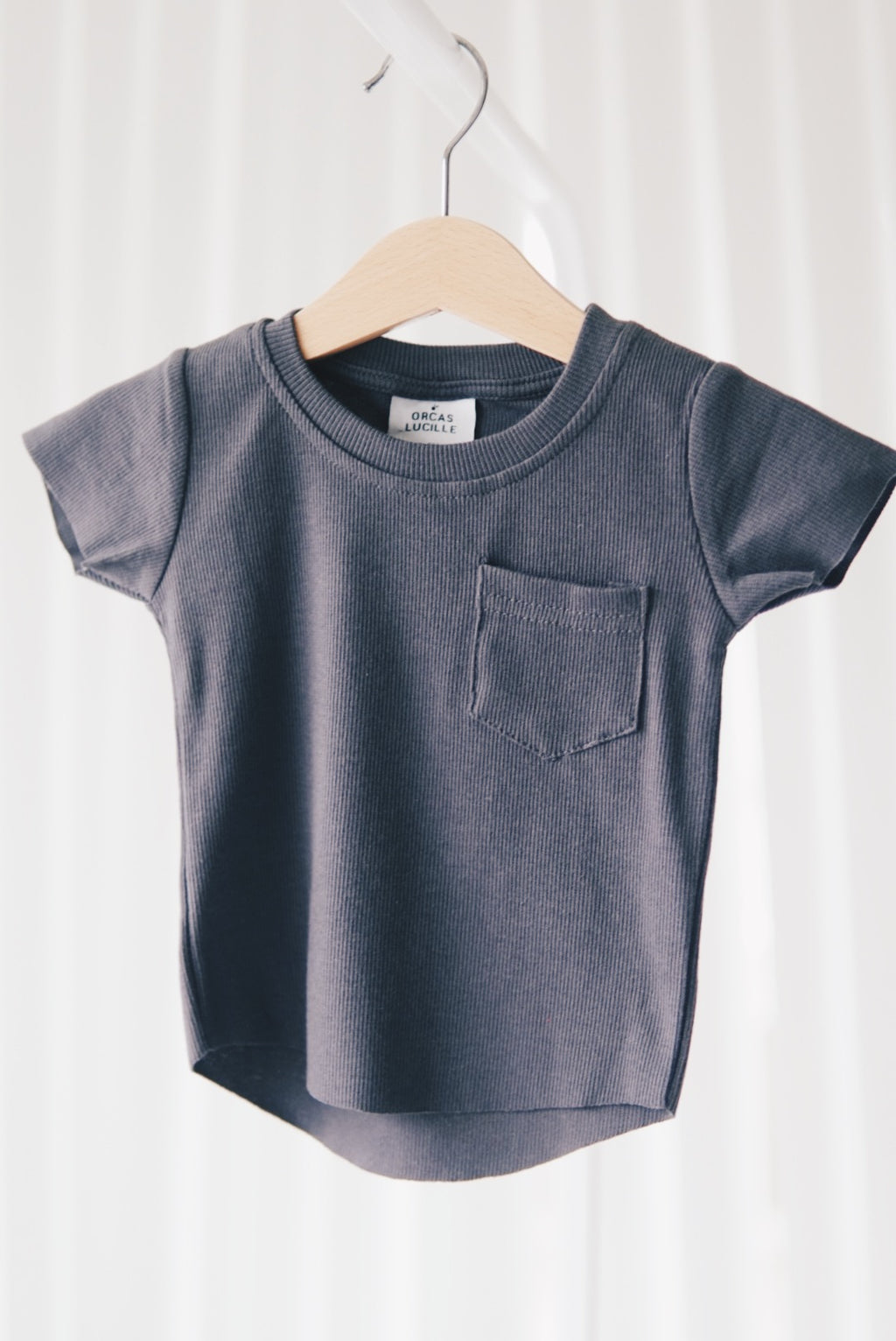 Ribbed Pocket Tee - Charcoal