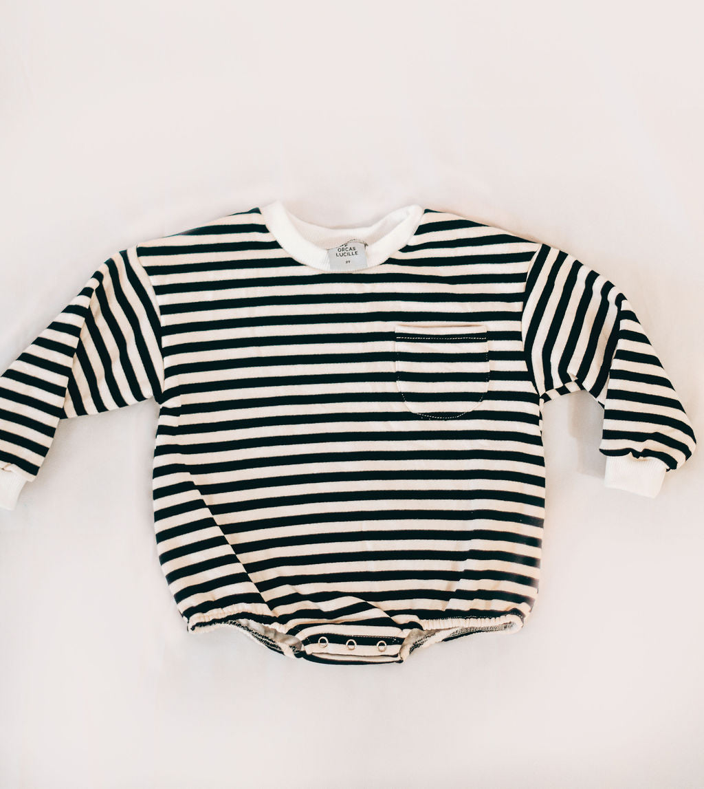 Sweatshirt Romper - Black Stripe