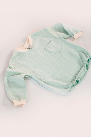 Quilted Sweatshirt Romper - Honeydew