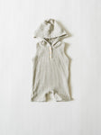 Hooded Shortie Romper - Gray Stripe