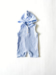 Hooded Shortie Romper - Periwinkle Blue