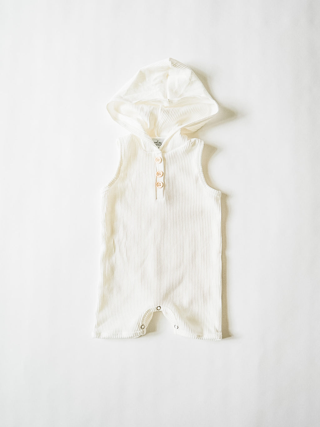 Hooded Shortie Romper - Coconut