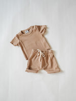 Cupro Two-Piece Short Set - Latte