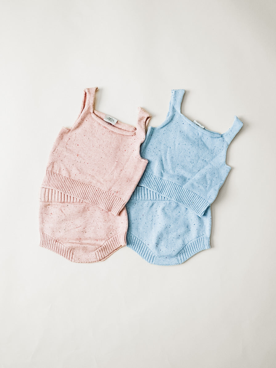 Speckled Knit Bloomer - Sky