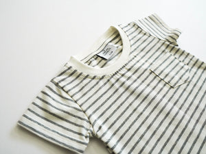 Curved Hem Pocket Tee - Grey Stripe