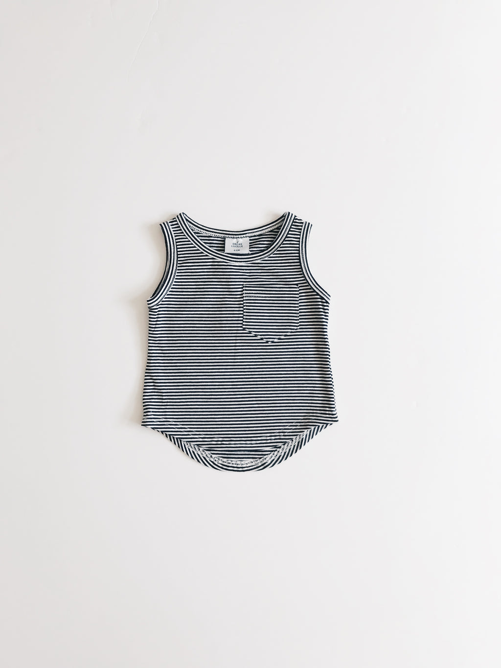 Pocket Tank Top - B&W Stripe