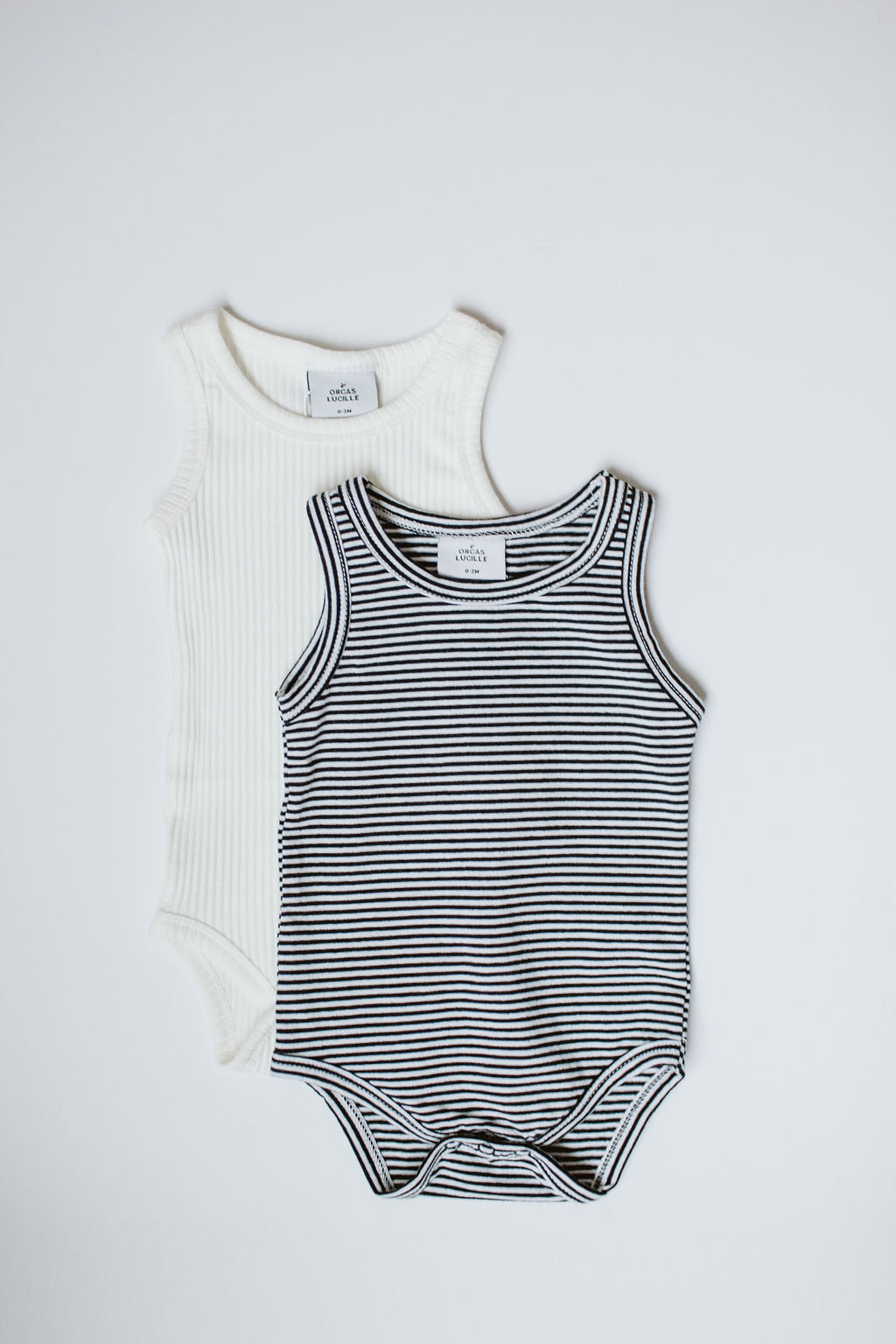 Sleeveless Bodysuit - B&W Stripe