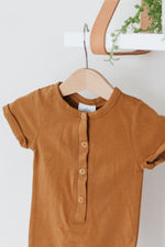 Short Sleeve Henley Romper - Butterscotch