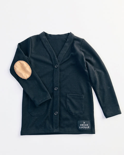 Elbow Patch Cardigan - Black