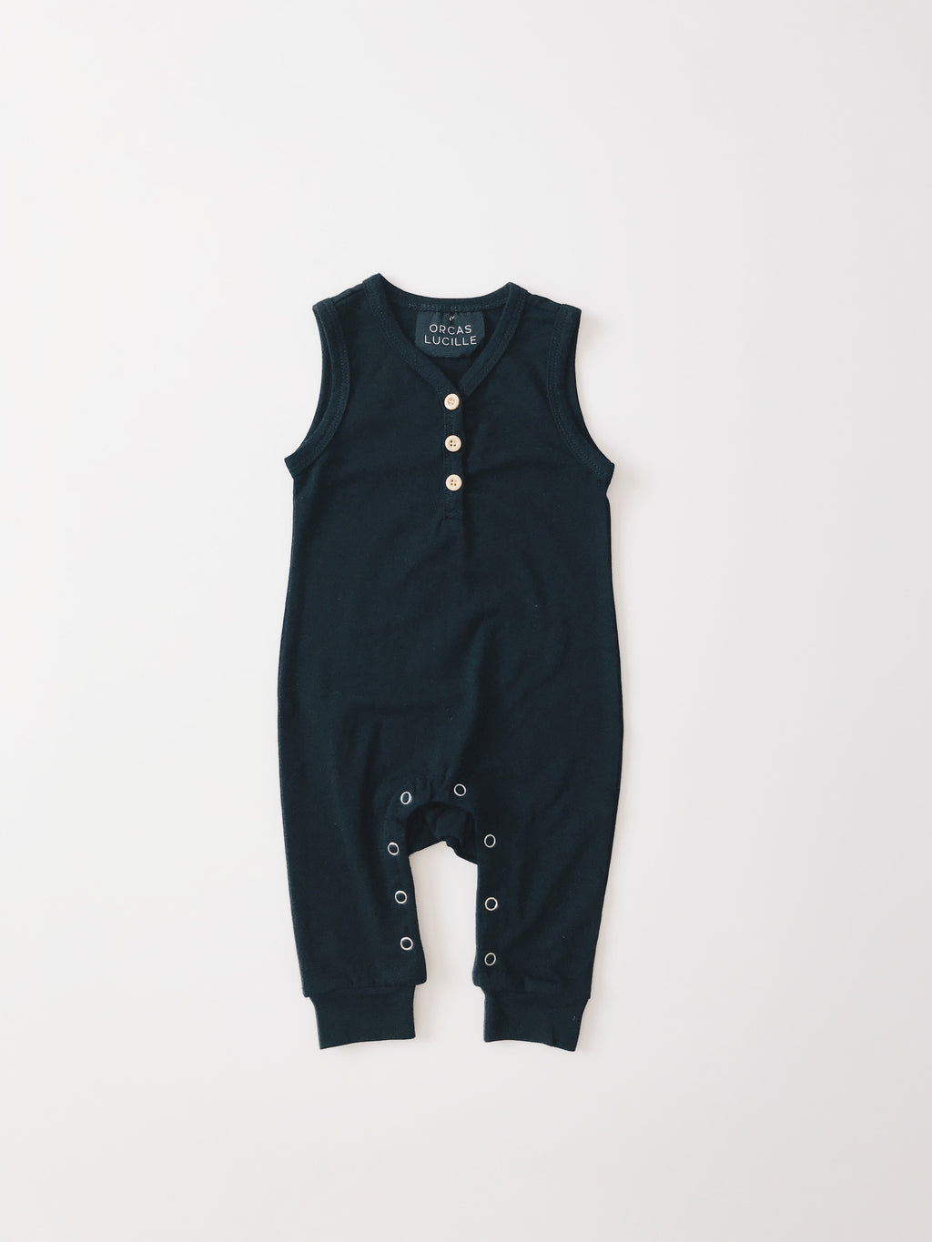 Sleeveless Henley Romper - Black