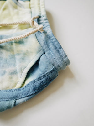 Tie Dye Track Shorts - Denim + Pale Lime
