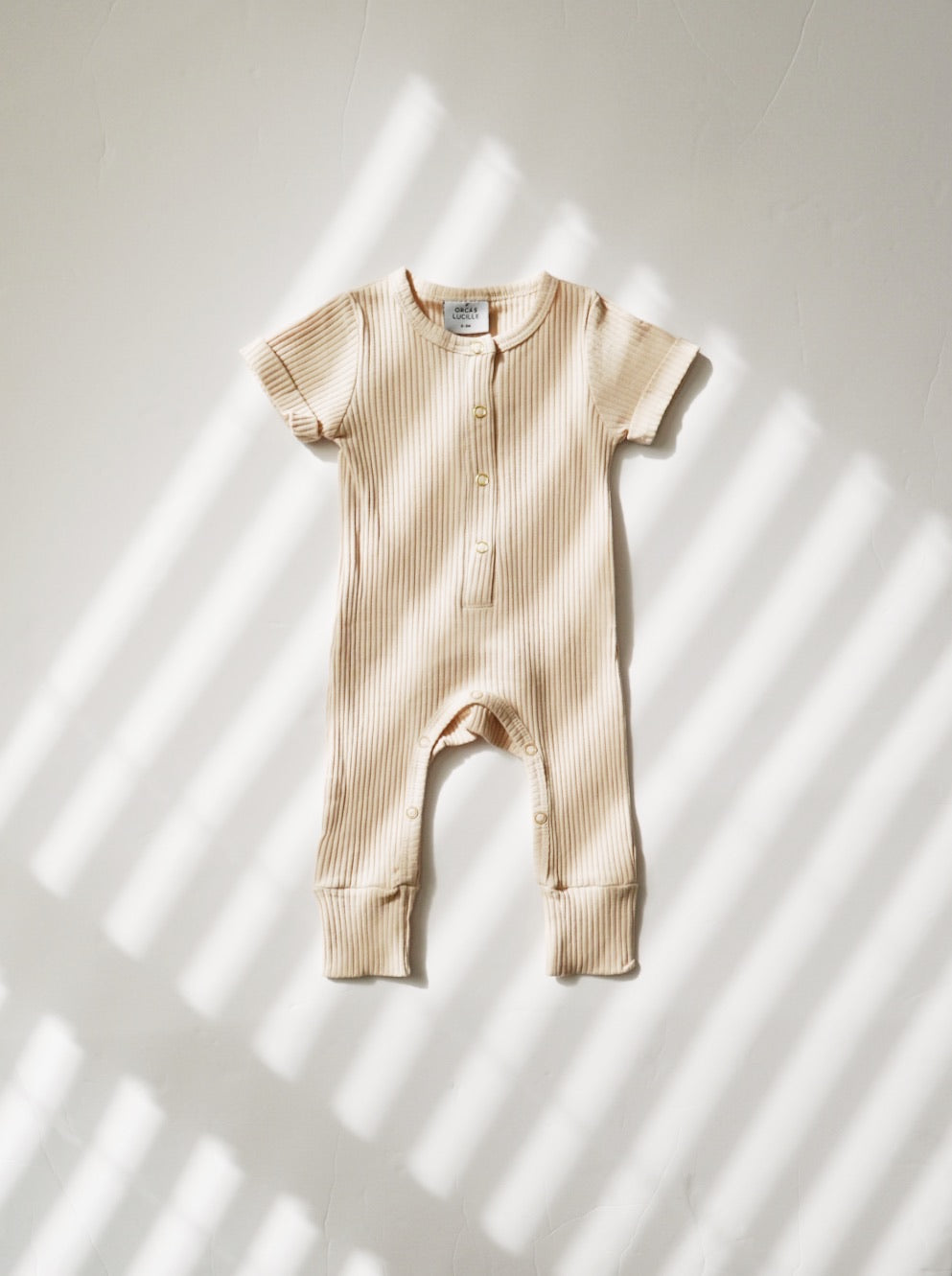 Wide Rib Henley Romper - Cream