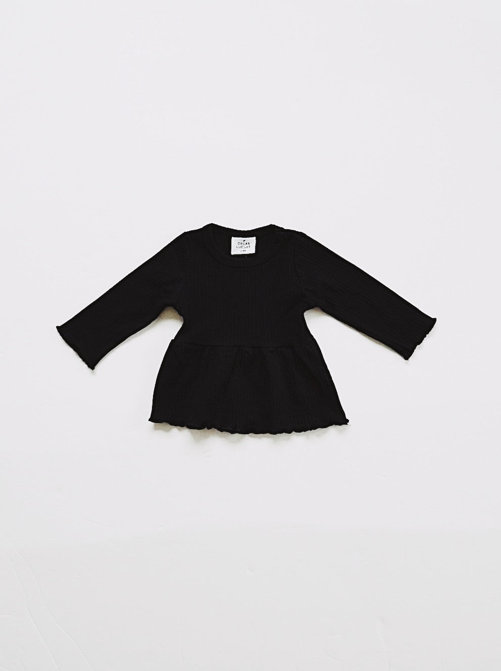 L/S Ribbed Peplum Tee - Black