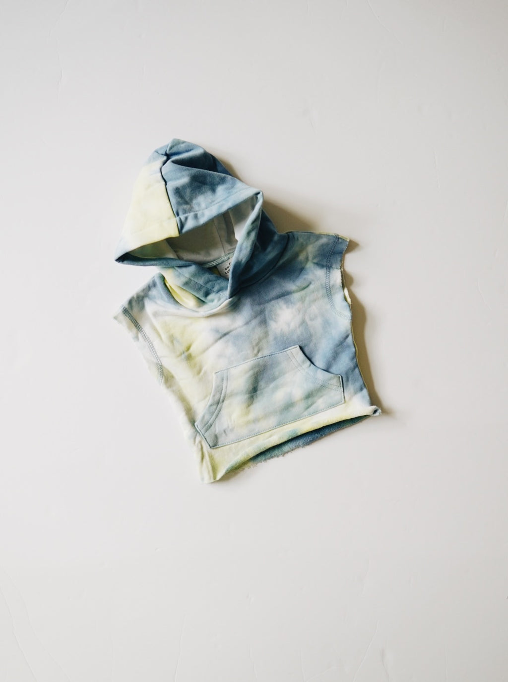 Tie Dye Cut Off Hoodie - Denim + Pale Lime
