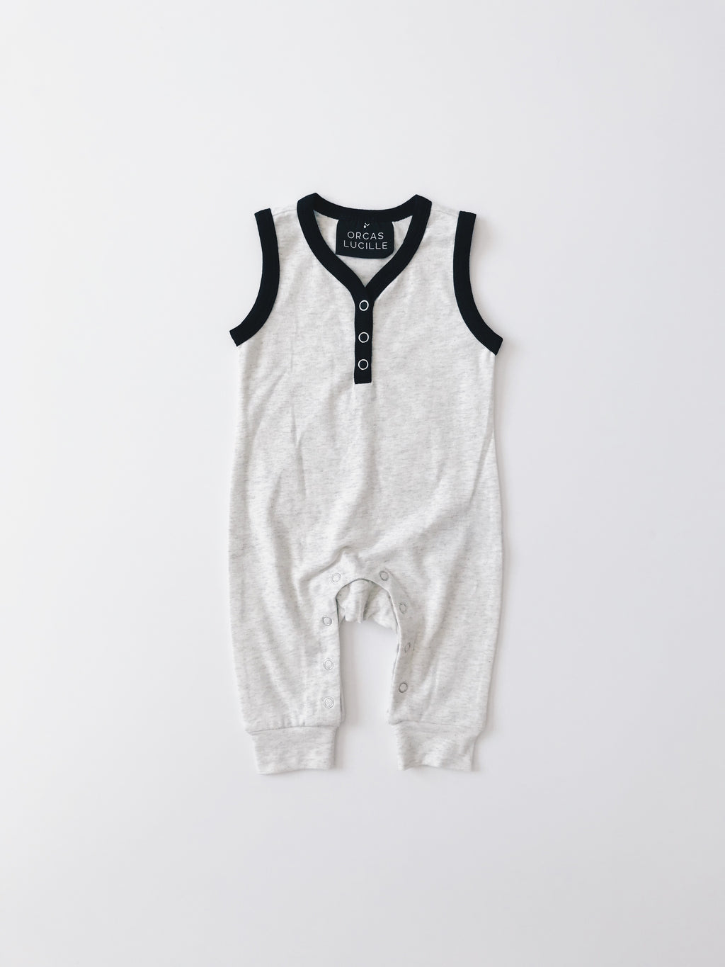 Sleeveless Henley Romper - Heather Grey