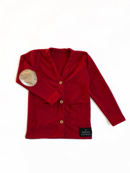 Merlot Elbow Patch Cardigan - Outlet