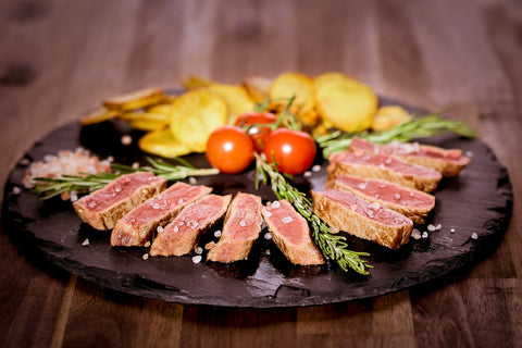 sliced pieces of steak on a plate