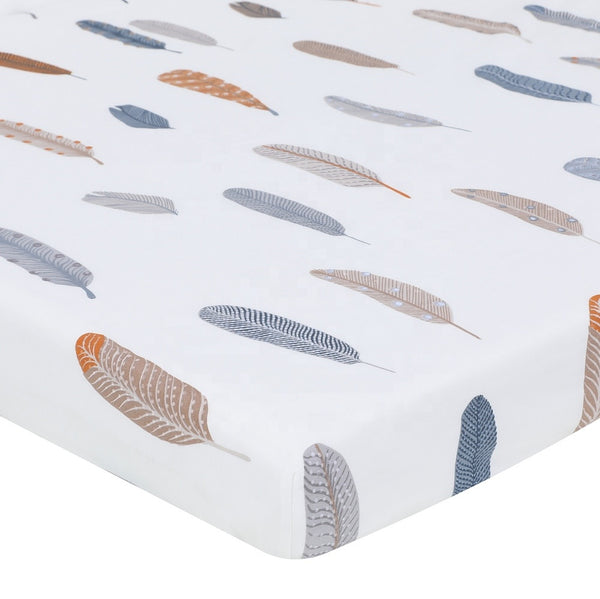 Cotton Fitted Crib Sheet - Feathers