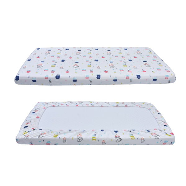 Cotton Fitted Crib Sheet - Plants
