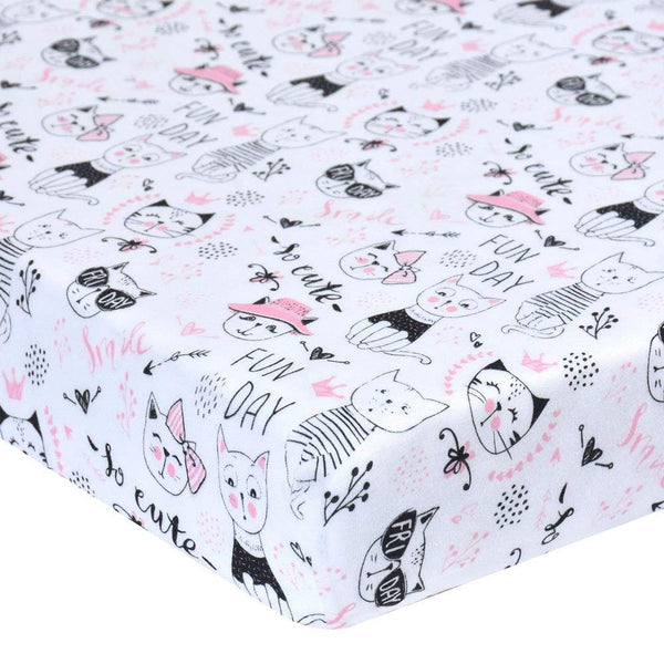 Cotton Fitted Crib Sheet - Cats