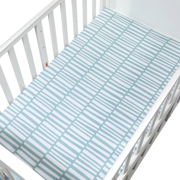 Cotton Fitted Crib Sheet - Lines