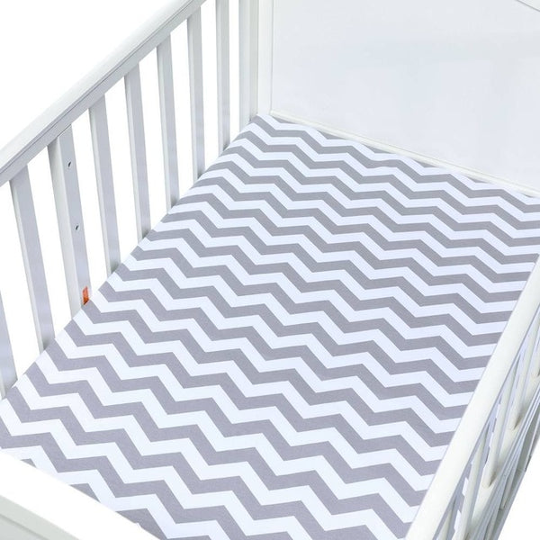 Cotton Fitted Crib Sheet - Chevron