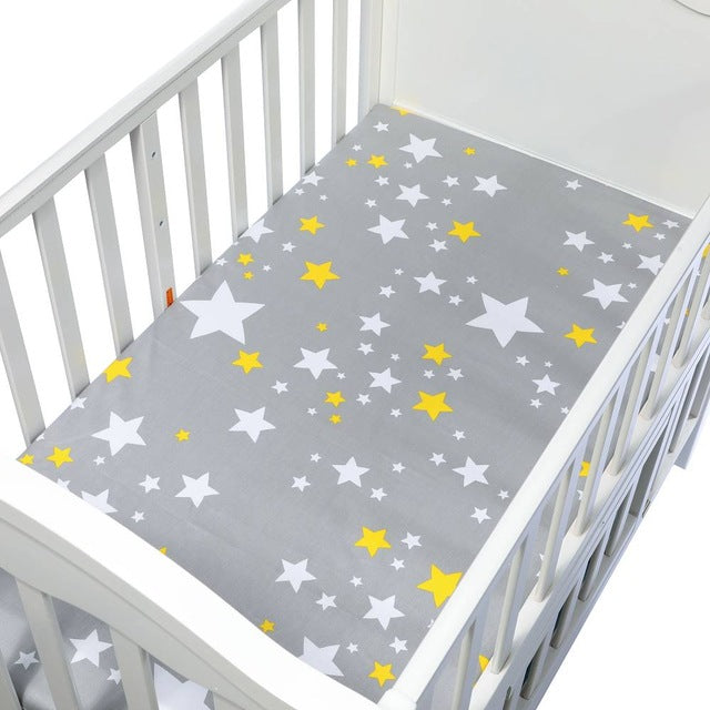 Cotton Fitted Crib Sheet - Stars