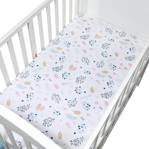 Cotton Fitted Crib Sheet - Leaves