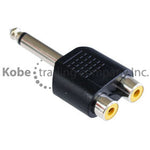 "ADA-10220 Audio Adapter 1/4"" (6.35mm) Mono Male to Dual RCA Female - KobeUSA"
