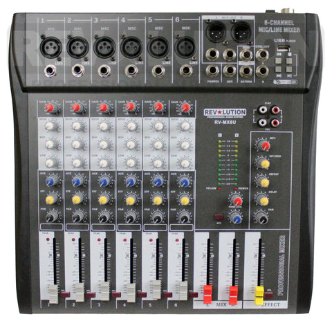 AMP-12100 RV-M6U 6CH Mixer with USB player - KobeUSA
