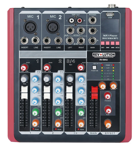 AMP-12115 RV-M4U 4CH Mixer with USB player - KobeUSA