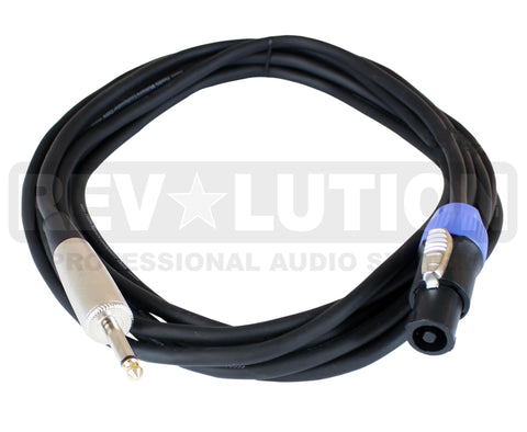 EXT-20311 Speaker Cable with Revolution Connectors, 1/4'' (6.3mm) Mono Male to  4P-Speakon Male - KobeUSA
