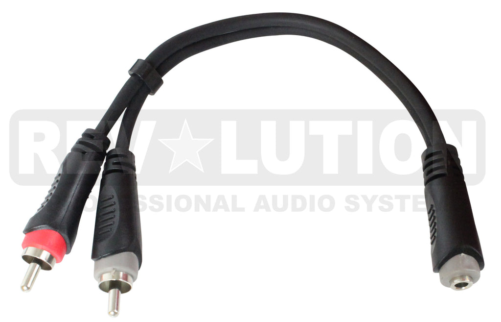 "EXT-20570 ""Y"" Audio Cable OFC with Revolution Connectors, 3.5mm Stereo Female to Dual RCA Male - KobeUSA"