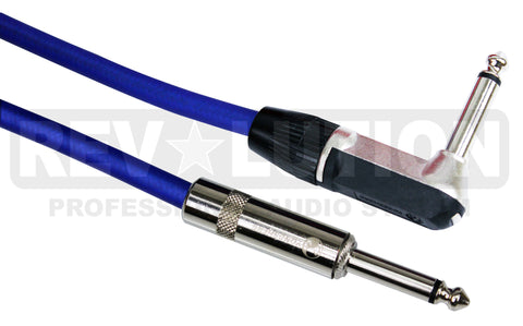 H.D. Instrument Cable with Ningbo Neutrik Connectors, 90° 1/4'' (6.3mm) Mono Male to  1/4'' (6.3mm) Mono Male - REVOLUTIONPRO