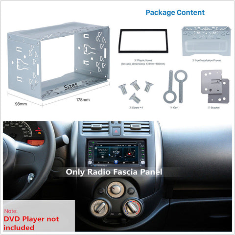 CAR-10690 2DIN Universal Metal Installation Frame Set Fit Double Din Car Dash Radios Stereo