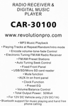 CAR-30100 RECEIVER AND DIGITAL MUSIC PLAYER -  bluetooth / USB / Aux