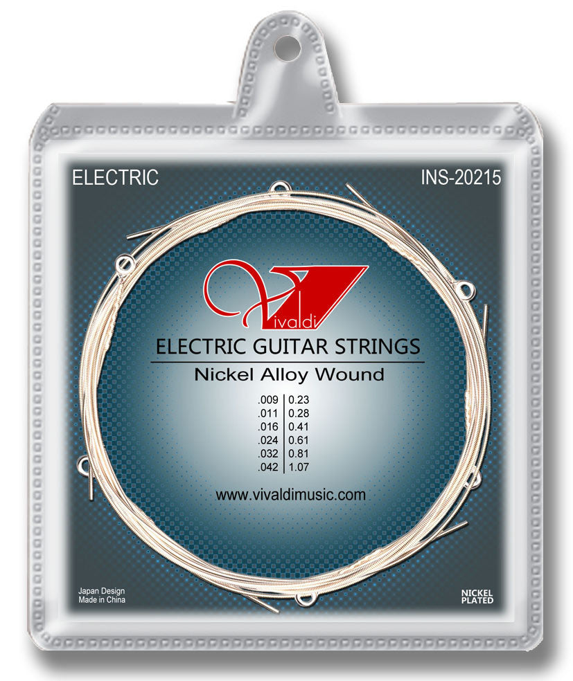 INS-20215 Electrical Guitar Strings (6 strings) Nickel Plated Steel, Super Light - KobeUSA