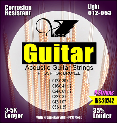 INS-20242 Acoustic Guitar Strings, Anti-Rust, Light - KobeUSA