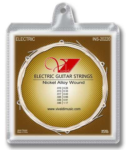 INS-20220 Electrical Guitar Strings (6 strings) Nickel Alloy Wound, Super Light - KobeUSA