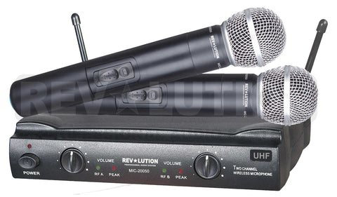MIC-20050 UHF Dual Wireless Microphone system - REVOLUTIONPRO