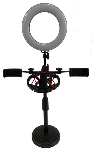 STD-30500 Live Broadcast Stand - Tablet & Phone Desk Stand with LED Light for Live Streaming