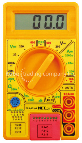 TES-10106 Digital Multimeter with  transistor buzer tester and cable tester - KobeUSA