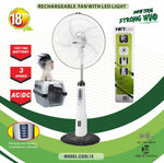 "VAR-16105 18""RECHARGEABLE BATTERY OSCILLATING PEDESTAL ADJUSTABLE FAN STAND"