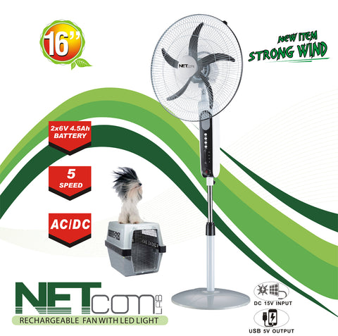 "VAR-16300 16"" RECHARGEABLE BATTERY OSCILLATING PEDESTAL ADJUSTABLE FAN STAND"